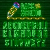 Neon latin alphabet. Back to school neon signboard and green neon glowing latin alphabet against a brick wall background. Vector illustration Stock Photo