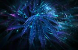 Neon leaf cannabis. marijuana club. Royalty Free Stock Photography