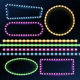 Neon and led strips and diode light border frames vector set. Neon frame light, glow and bright banner illustration Royalty Free Stock Image