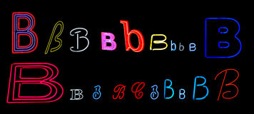 Neon letter B collection. Collection of a number of different neon letter B isolated on black - part of a series of neon letters Royalty Free Stock Images