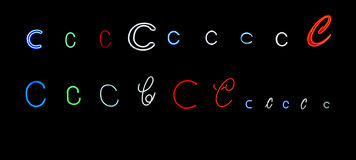 Neon letter C collection Stock Photo