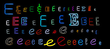 Neon letter E collection Stock Photo