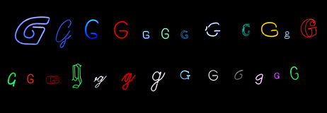 Neon letter G collection. Collection of a number of different neon letter G isolated on black - part of a series of neon letters Stock Photography