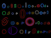 Neon letter O collection. Collection of a number of different neon letter O isolated on black - part of a series of neon letters Royalty Free Stock Photography
