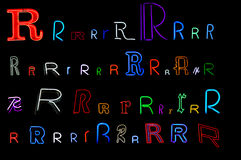 Neon letter R collection. Collection of a number of different neon letter R isolated on black - part of a series of neon letters Royalty Free Stock Photo