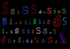 Neon letter S collection Stock Image