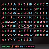 Neon Letter Set Stock Images