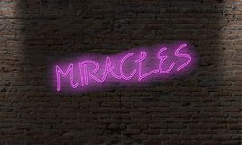 neon letter sign with the word miracles stock illustration