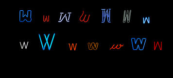 Neon letter W collection Royalty Free Stock Image