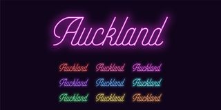 Neon lettering of Auckland name. Neon city royalty free illustration