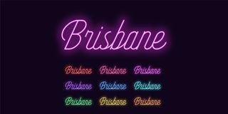 Neon lettering of Brisbane name. Neon city royalty free illustration