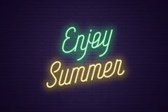 Neon lettering of Enjoy Summer. Glowing text. Neon lettering of Enjoy Summer. Glowing headline, bright neon cursive text of Enjoy Summer. Title template for web royalty free illustration