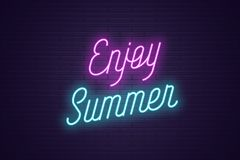 Neon lettering of Enjoy Summer. Glowing text. Neon lettering of Enjoy Summer. Glowing headline, bright neon cursive text of Enjoy Summer. Title template for web vector illustration