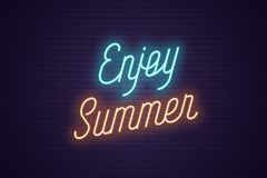 Neon lettering of Enjoy Summer. Glowing text. Neon lettering of Enjoy Summer. Glowing headline, bright neon cursive text of Enjoy Summer. Title template for web stock illustration