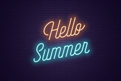 Neon lettering of Hello Summer. Glowing text. Neon lettering of Hello Summer. Glowing headline, bright neon cursive text of Hello Summer. Title template for web royalty free illustration