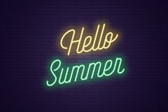 Neon lettering of Hello Summer. Glowing text. Neon lettering of Hello Summer. Glowing headline, bright neon cursive text of Hello Summer. Title template for web vector illustration