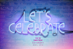 Neon  lettering-Let`s celebrate-on a brick wall. Stock Photos
