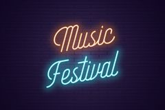Neon lettering of Music Festival. Glowing text. Neon lettering of Music Festival. Glowing headline, bright neon cursive text of Music Festival. Title template stock illustration