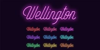 Neon lettering of Wellington name. Neon city royalty free illustration