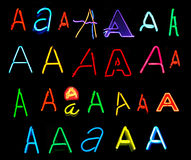 A Neon Letters. Neon letters A collected from neon signs for over two years Stock Photo
