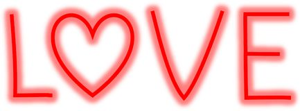 Neon letters LOVE with heart as O. Red neon sing. great for valentine Royalty Free Stock Photos