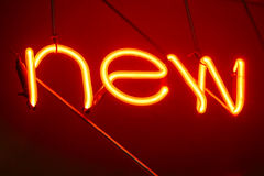 Neon Letters NEW Sign Light decoration Type display. Retro style Royalty Free Stock Photos