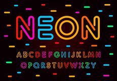 Neon letters, numbers and symbols set. Colored tube, colorul contour modern style abc, lines latin alphabet. Fonts for. Events, promotions, logos, banner and royalty free illustration