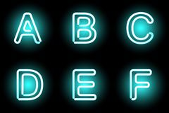 Neon letters. Vector mesh realistic letters of neon tubes. Gradient mash Royalty Free Stock Photo
