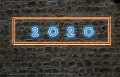 2020 neon letters on wall stock image