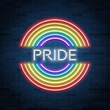 Neon LGBT pride sign, glowing rainbow, gay love celebration, vector illustration royalty free illustration