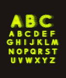 Neon light alphabet. Dotted font. Abstract vector background with letter signs. royalty free illustration