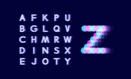 Neon light alphabet. Dotted font. Abstract vector background with letter signs. Design elements. royalty free illustration