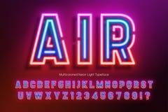 Neon light alphabet, extra glowing font design. Neon light alphabet, extra glowing font. Exclusive swatch color control vector illustration
