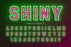 Neon light alphabet, extra glowing font, type. Neon light alphabet, extra glowing font. Exclusive swatch color control stock illustration