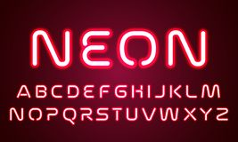 Neon light alphabet font letters. Vector red ultraviolet neon glow effect of font alphabet, red led light lamps stock illustration