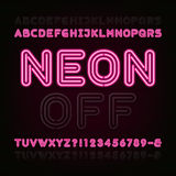 Neon Light Alphabet Font. Two different styles. Lights on or off. Stock Photography