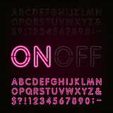 Neon Light Alphabet Font. Two different styles. Lights on or off. Type letters, numbers and symbols. Red neon tube letters on a dark background. Vector stock illustration