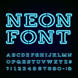 Neon Light Alphabet Font. Stock Photos