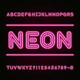 Neon Light Alphabet Font. Stock Photos
