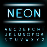Neon light alphabet font Stock Photos