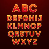 Neon Light Alphabet Font. Vector illustration Stock Photo