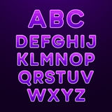 Neon Light Alphabet Font. Vector illustration Royalty Free Stock Photos