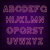 Neon light alphabet. Glowing neon font. Vector. royalty free illustration