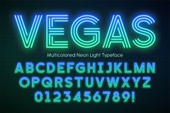 Neon light alphabet, multicolored extra glowing font. Exclusive swatch color control vector illustration