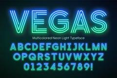 Neon light alphabet, multicolored extra glowing font vector illustration