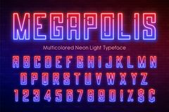 Neon light alphabet, multicolored extra glowing font. Stock Photography