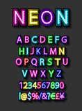 Neon light alphabet royalty free illustration