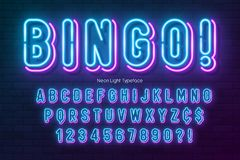 Neon light alphabet, multicolored extra glowing font. royalty free illustration