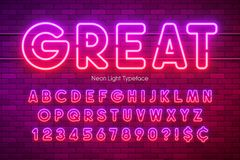 Neon light alphabet, multicolored extra glowing font. vector illustration