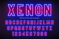 Neon light alphabet, multicolored extra glowing font Royalty Free Stock Photography